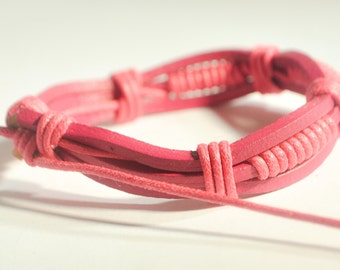 Pink cotton ropes with Pink leather bracelet