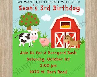Farm Birthday Invitation Farm Invite  DIGITAL file