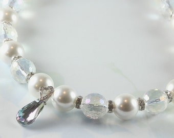 White Pearl and Disco Crystal Necklace with Swarovski Pendant, Bead Necklace, Bridal, Wedding, Prom, Elegance