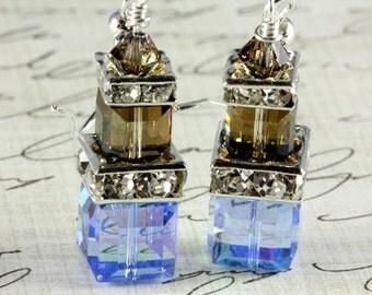 Sapphire Crystal Cube Earrings - Swarovski - Sterling Silver - September birthstone - Bridal Earrings - Wedding - Bridesmaid Earrings