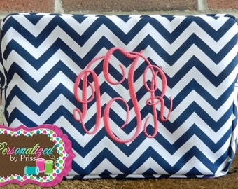 Navy & White Chevron *Monogrammed* Makeup Bag (Set of 7 Bridesmaid's Gifts)