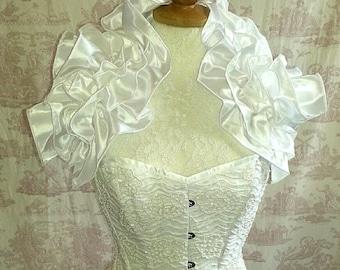 White taffeta  Steampunk Wedding  Opulent  Opera Shrug By Gothic Burlesque