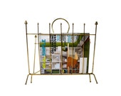 Mid Century Magazine Rack, Gold Metal Atomic Era Magazine Holder