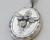 Locket Necklace,Silver Bee Locket,Beelieve Life Is Sweet,Jewelry Gift, Silver Locket,Locket,Silver Bee Locket,Silver Chain,Wedding Necklace