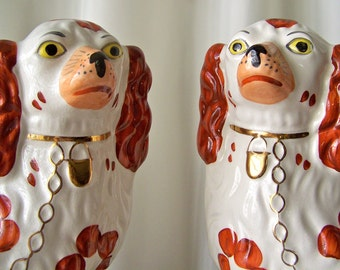 Vintage Staffordshire Spaniel Fireplace Mantle Dogs Reproduction Wally Dogs King Charles Spaniel Large Dog Statue England Circa 1950s