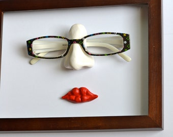 Mother's Day Gift - Unique Eyeglass Holder - wall mounted; Reading Glasses Holder; Nose Sculpture; Wall Display Reading Glasses
