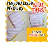 SIZE:A5 (Side Tabs/Special Set) Personalised Dividers Cute Kawaii Custom Made For Filofax
