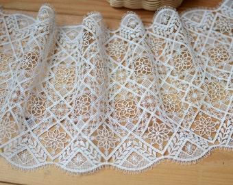Ivory Lace Trim -1 Yard Ivory Vintage Flower Lace (L156)