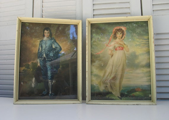 Blue Boy And Pinkie Litho Vintage Framed Prints In White