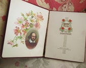 Antique Book ROSES From SHAKESPEARE Red Suede Cover Lithos