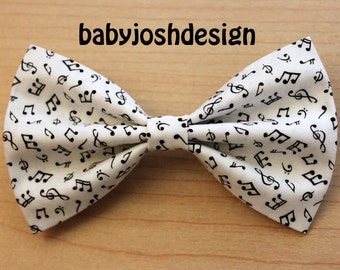 Musical White Fabric Hair Bow Black Notes ,Musical Notes Hair Bow For teens or women,girls hair bows,basic hair bows , Hair Bows