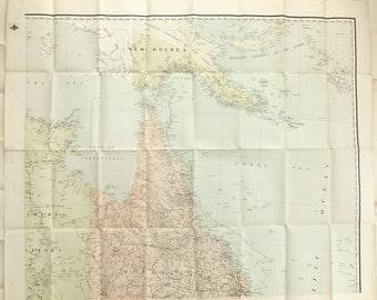 Vintage Australia Map, Huge North East Australia Map, 3.5 feet x 2.75 feet map,
