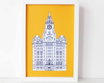 Liverpool Print, Liver Building, Liverpool drawing, A3 art print, A4 print, Spring, Sunshine yellow,  Picture of Liverpool, England