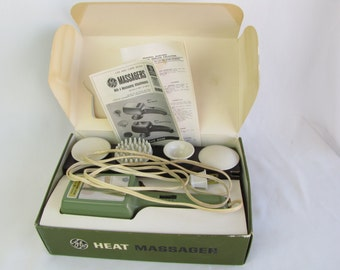 Vintage 1970s Electric Heat Massager GE with Four Attachments