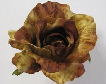 Variegated Browns Rose Flower Poly Silk Hair Clip