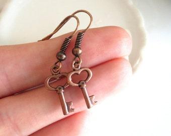 Keys Red Copper Earrings