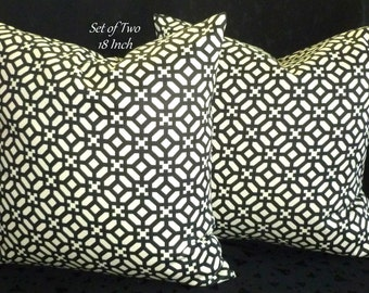 Throw Pillows, Pillow Covers, Accent Pillows, Decorative Pillows - Set of Two 18 Inch - Black and Ivory