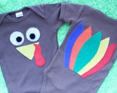 Thanksgiving Turkey Onsie with Front and Back Design (3-6 month)