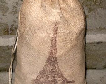 TEA Stained Muslin Bags 100% Cotton Color Pouches with Eiffel Tower Image ECS