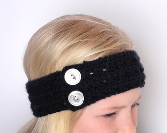 Crochet Head/Ear Warmer - Navy Blue with White Buttons - Junior to Adult