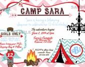 Glamping Birthday Invitation Chevron Tent Camp Bunting Bonfire Chandelier Monogram Red Pink Blue Invite Birthday Printable