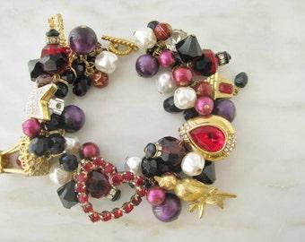 Charm Rhinestone Statement Bracelet One Of A Kind Heart Valentine Star