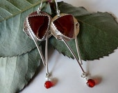 Jewelry Sale Agua  Nueva Agate Sterling Silver Carnelian Long Dangle Earrings oOo Kissing Kate Barlow oOo  by Jessiejems