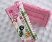 Reversible Car Seat Strap Covers//Stroller Strap Covers//Seat Belt Pad..Girl John Deere Fabric with Minky - Baby through Adult