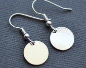 Silver Discs . Earrings