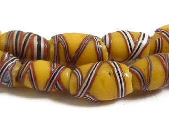 French Cross Venetian Yellow Wound Trade Beads African 65722
