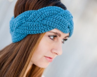 Braided Crochet Earwarmer - Braided Crochet Headband - Custom Options Available