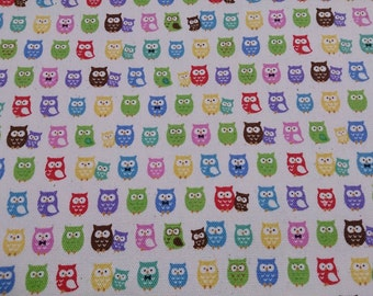 1M Japanese cotton fabric owl  printed one yard cream white