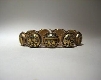 Brass and Resin Bracelet with Birds