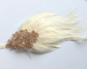Cream 20s Headpiece for Great Gatsby Dress, 1920s Holiday Fascinator, Champagne Beaded Cream Feather Headpiece