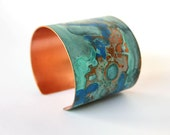 Patina Copper Cuff Two Inch Wide Verdigris