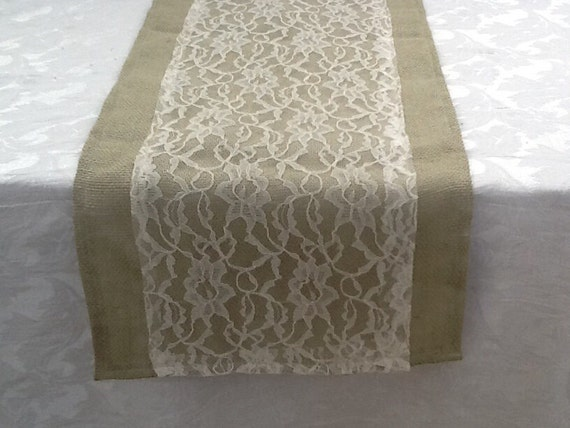 Charming Items Similar To Burlap Table Runner With Sage Green Burlap With Ivory  Lace, Custom Sizes Available, Wedding, Party, Home Decor On Etsy