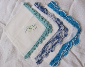 Lot of 3 Vintage Solid White Crocheted Tatted Trim Cotton Linen Hankies Blue