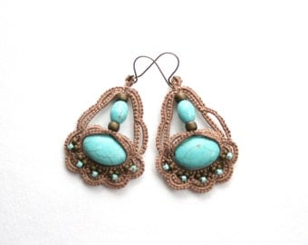 Turquoise Mocha Beaded Dangle Style Tatting Lace Earrings