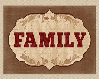 Family Wall Art Printable 11x14 Browns Tans Reds - Flourish - Instant Download
