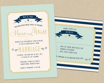 Wedding Invitation Set - Printable - Mint, Navy and Gold Nautical - Banner Stripes