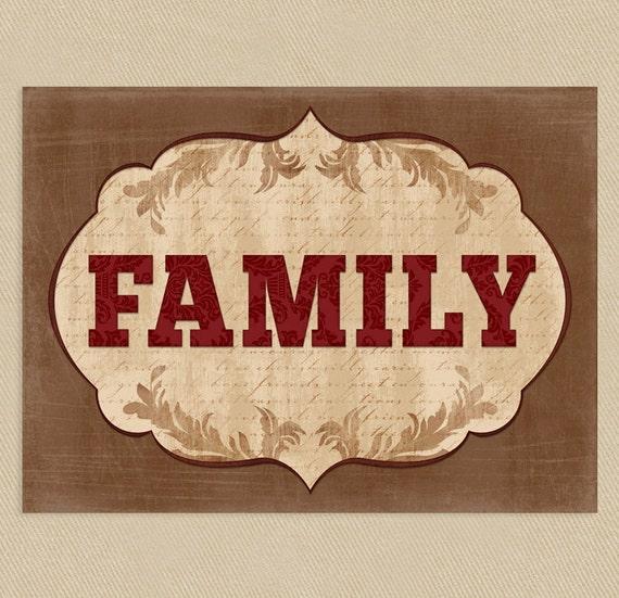 Printable Family Wall Decor : Family wall art printable browns tans reds flourish