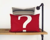 Question mark outdoor pillow case / Sign, typography applique in white and red / 12x18 Monogramm cushion cover / Patio garden decorations