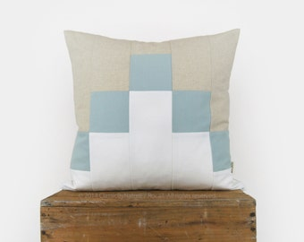 Color Block Decorative Pillow Cover - Geometric Pixel Pattern - 18x18 Pillow Case in White, Blue and Beige or Personalized Accent