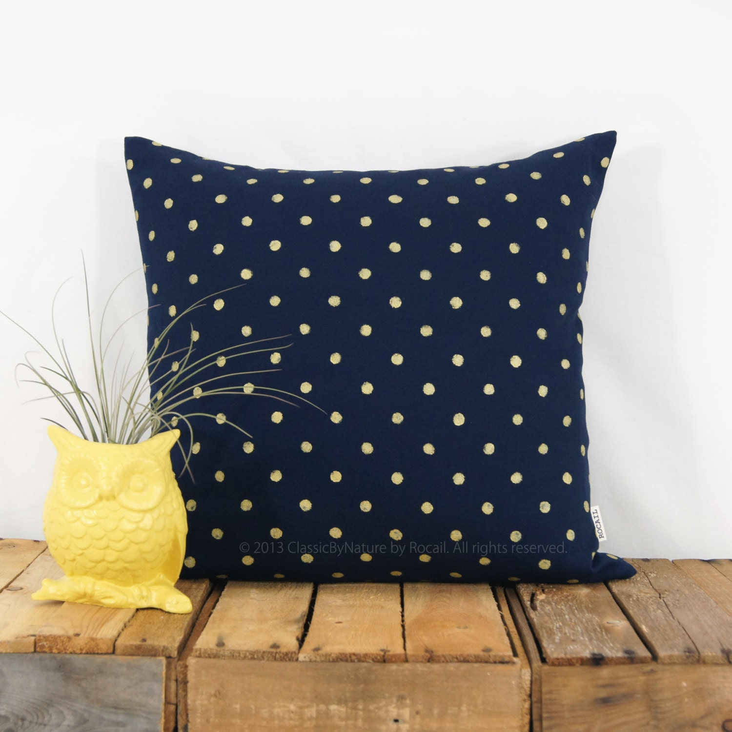 Gold and Navy Decorative Pillow Polka Dots by ClassicByNature