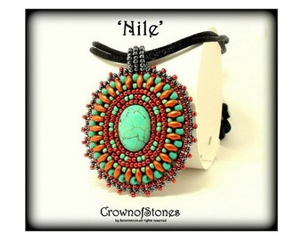 """Bead pattern PDF Bead Embroidery Pendant """"Nile"""" with Superduo SPECIAL PRICE"""