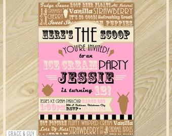 Ice Cream Party - Neapolitan Ice Cream Invitation - Printable Birthday Invitation