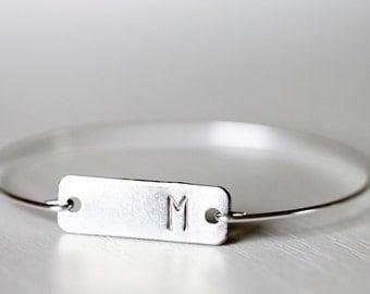 Monogrammed Tag Bracelet, Tag Bangle, Silver Initial Bracelet, Silver Initial Rectangle Tag, Custom Initial, Initial Bracelet