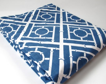 Blue and White Baby Blanket - Geometric Cane - Hollywood Regency Design - White Minky Backing - 30 x 36
