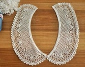 Cotton Venice Lace Collar Appliques Beige Floral Emboridey Collars 1 pair