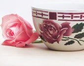 1930  Large French Vintage Tea Cup , pretty pink rose pattern, SARREGUEMINE